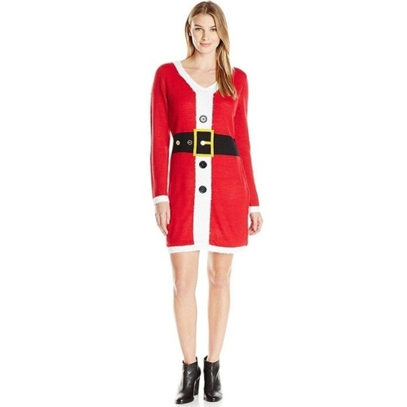 Allison Brittney Sweaters Womens Santa Suit Vneck Ugly Christmas